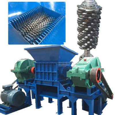 Dubbele as tire shredder, shredder afval machine, schroot shredder