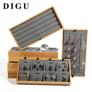 DIGU Microfiber Insert Jewelry Display Trays For Gemstone And Diamond Showcase Solid Wood Tray