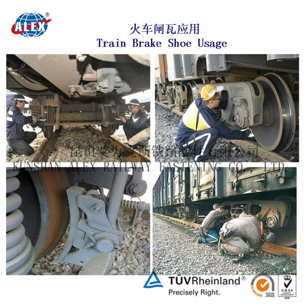 Asbestos-free Composite Brake Shoes for on-tread braking of diesel and electric locomotives