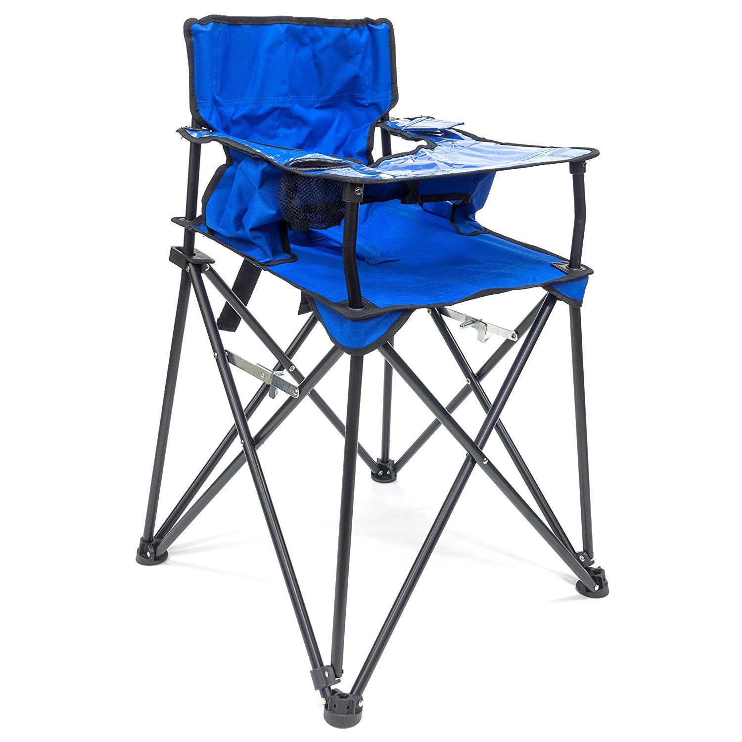 Creative Outdoor Distributors 507284-Blue Folding Baby High-Chair with Table Tray & Cup Holder Baby High Chair, Blue