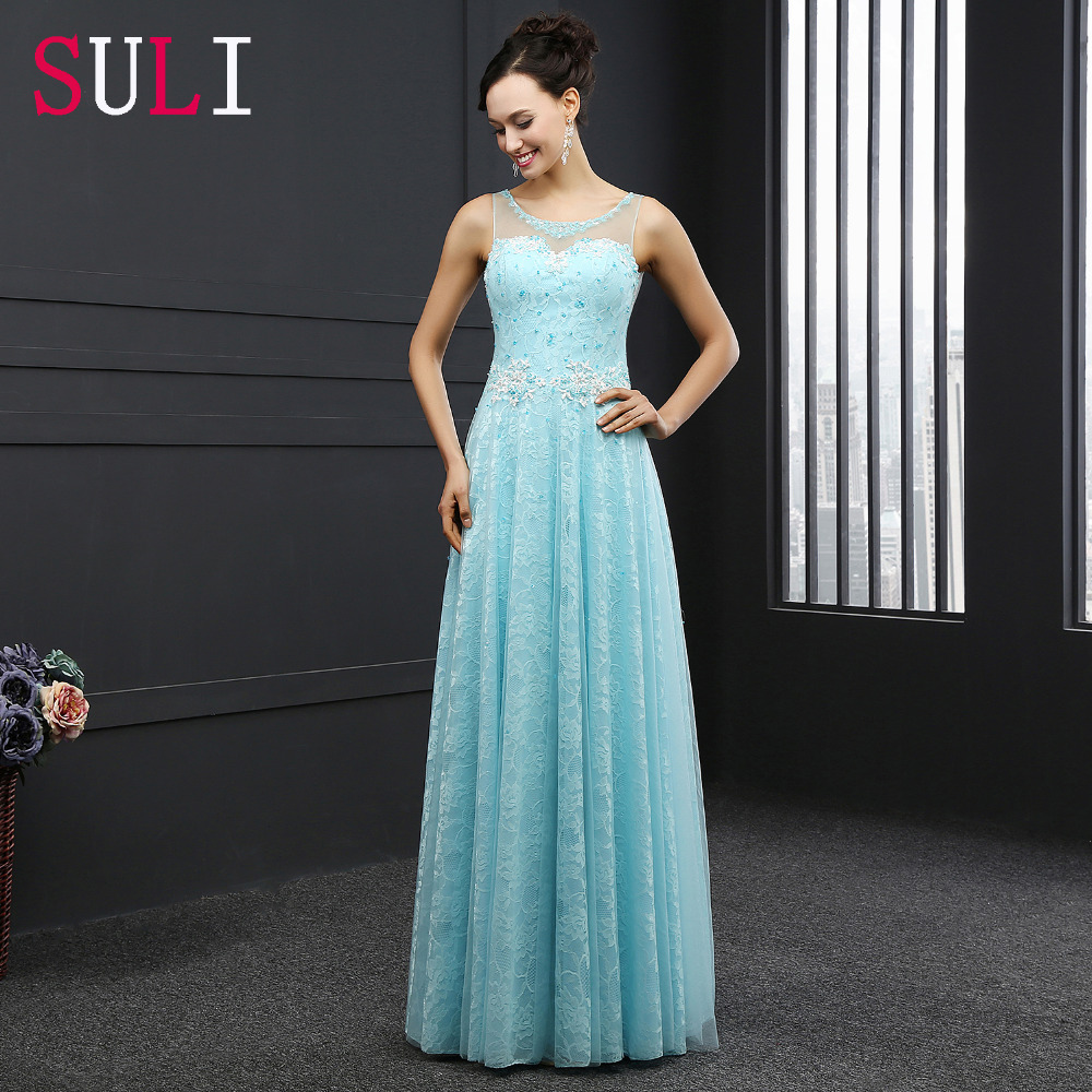 SL3004 Elegant A-Line Tulle Open Back 2016 Lace Long Evening Dress