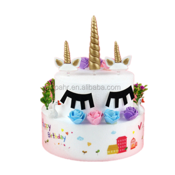Kids Birthday Cake Decoration Unicorn Horn And Ears Topper