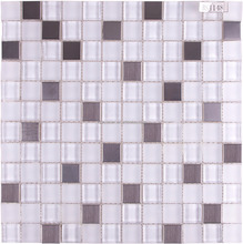 BSJ148 Decorative square polished and opaque crystal white glass and stainless steel mosaic tile for wall kitchen backsplash
