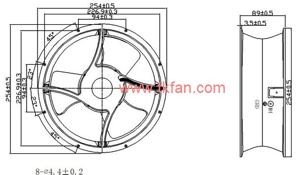 Customize Cheap Price 254mm 25489 24v high power exhaust fan