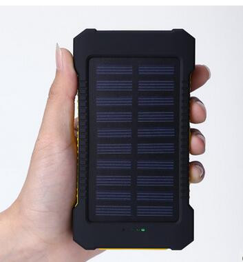 New waterproof Solar panel power bank 10000mah with 2 usb output