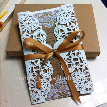 Decorationed Bow Paper Laser Cut Wedding Invitation Cards Designs ...