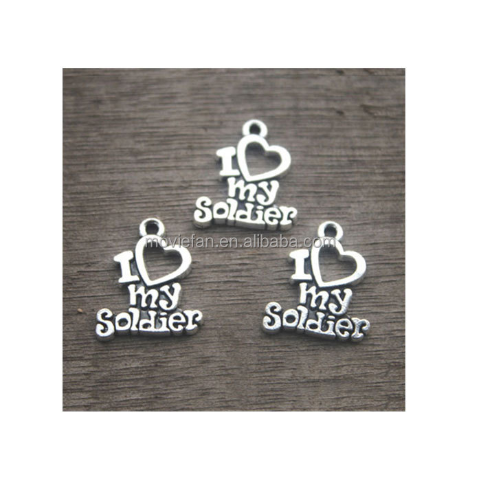 I Love My Soldier Charms Antique Tibetan Silver Soldier charm pendants 20x17mm