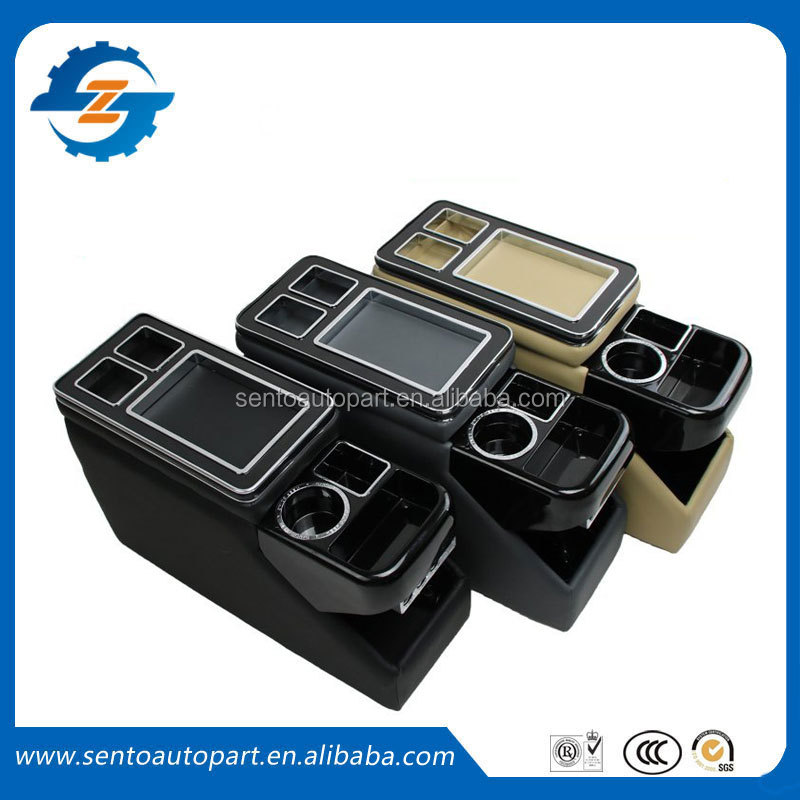 High quality directly install ABS leather wooden multifunctional universal storage armrest console box for MPV Cars