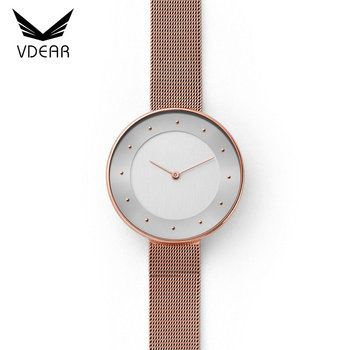 d9477fc0a85 Rose gold ultra thin girls stainless steel custom brand women watches color  strap watches