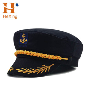 Custom Brushed Wool Flat-top Cap Embroidery Navy Officer Cap Military Cap