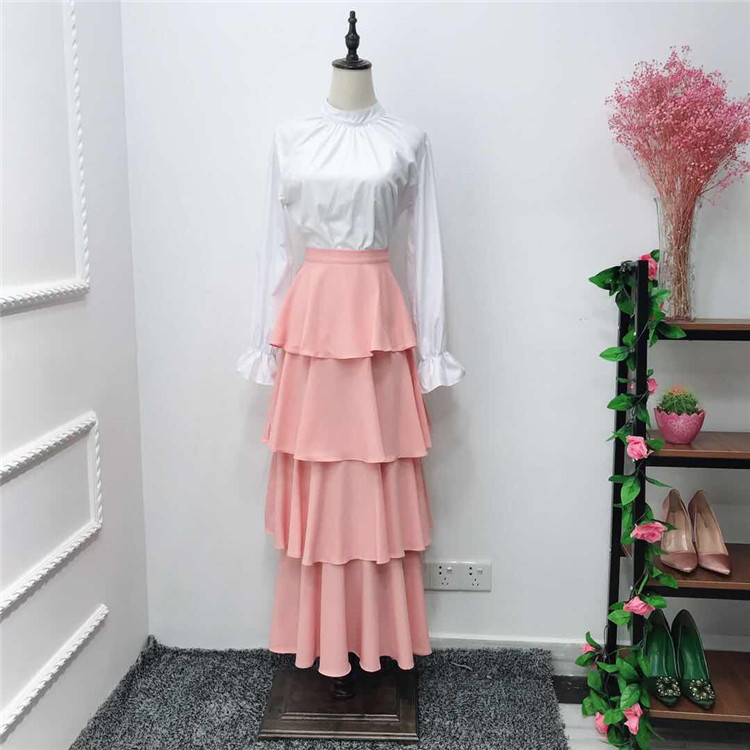 2019 new fashion 4   colors  heavy chiffon  tiered layers  sweet  maxi skirts