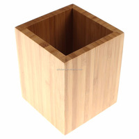 Bamboo Wood Desk Pen Pencil Holder Cup Stand, Square Creative Small Stationery Storage Box Office Home Desk Supplies Organizers
