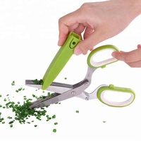 "7.5""Professional Stainless Steel 5 Blades Kitchen tailor Scissors Herb Scissors With Comb"