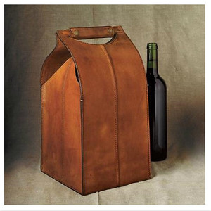 Personalized leather 4 pack bottle wine carrier