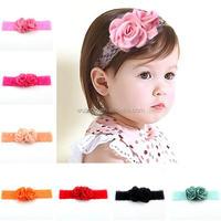 New High Quality Cute Kids Headband Big Flowers Lace Newborn Elastic Hairbands Hair Accessories For Children Girls Headwear