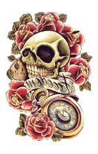 Barevné dočasné tetování – lebka s květinami