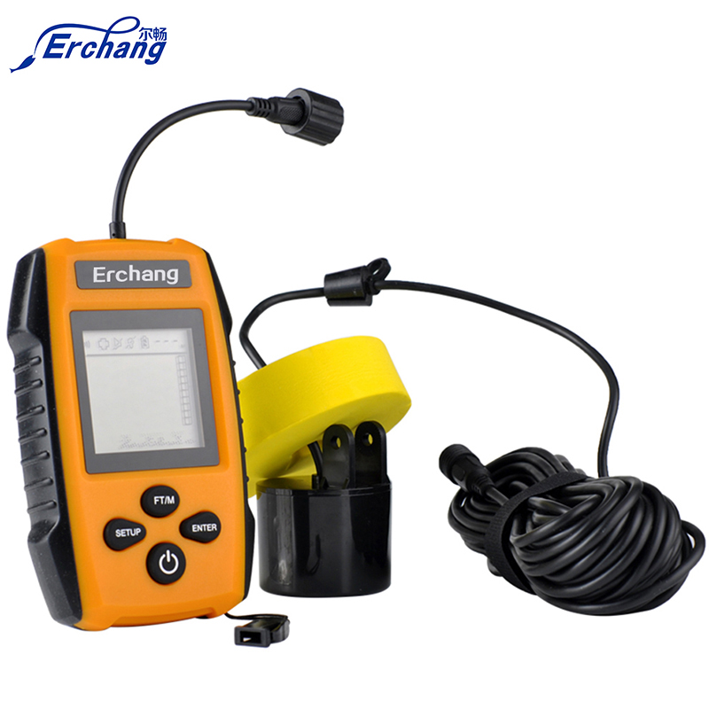 Erchang Portable Fish Finder Tackle Fishes with Wired Sonar Sensor Alarm Transducer and LCD Display Depth Finders for <strong>fishing</strong>