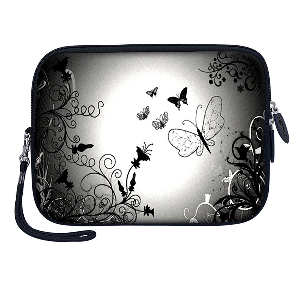 """Meffort Inc 7 inch Tablet Carrying Case Sleeve Bag w Removable Handle for most 6"""" 7"""" 8"""" Tablet eBook - Black Gray Butterfly"""