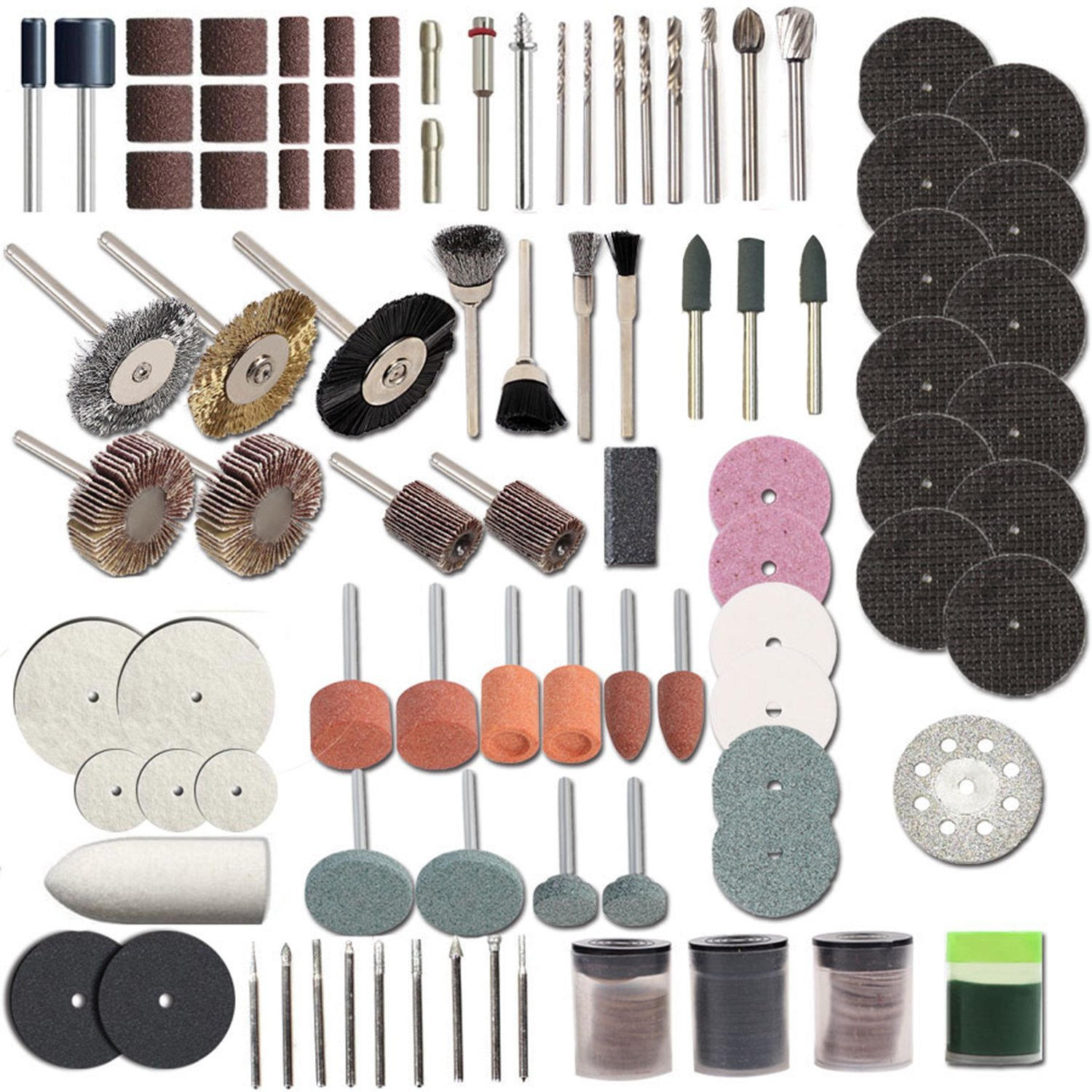 HILDA 248 pcs Rotary Tool Accessories Kit Buffing Wheels Cutting Discs with 1/8 Shank Universal fitment for Polishing Cutting Sanding and Grinding