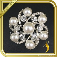 Elegant design crystal and pearl round garland silver small rhinestone brooches FB-079