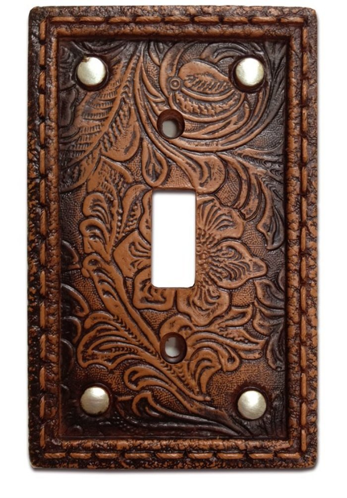 Tooled Leather Floral Design with Rivets Resin Single Switch Cover Plate