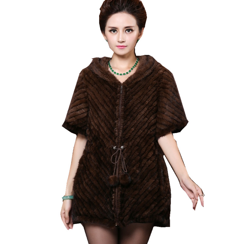 ZDFURS * upscale fashion female fur hooded jackets imported mink fur vest  knitted  mink fur coat for women