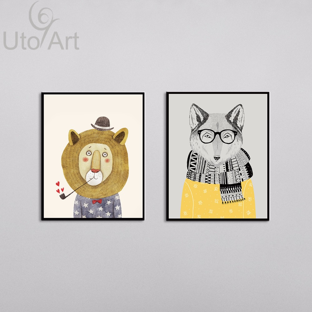 2 Panel Watercolor Nordic Animal Lion Bear Panda A4 Art Prints Poster Hipster Wall Picture Canvas Painting Kids Room Home Decor