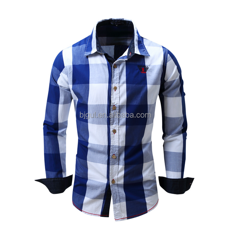 Pure cotton yarn-dyed men's casual long-sleeved shirt