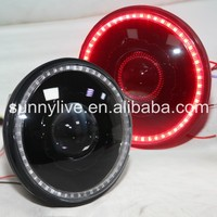 For Jeep Wrangler 07-15 Head Light Red LED Angel Eyes Black Color Housing
