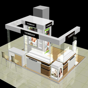 Unique mall kiosk design with wooden cosmetic retail counter, cosmetic  showcase