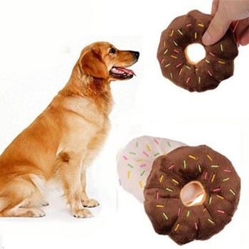 11Cm Sightly Pet Chew Cotton Donut Play Toys Lovely Pet Dog Puppy Cat Tugging Chew Squeaker Quack Sound Toy Chew Donut Play Toys