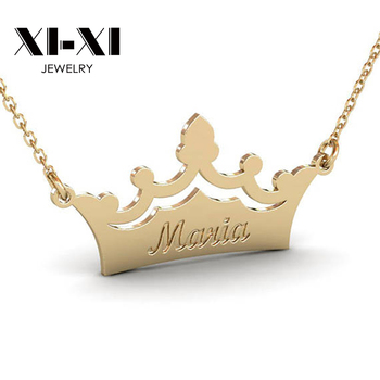 Personality Custom Engraved Words Crown Shape Queen Religious Necklace Jewelry