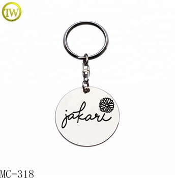 Manufacture made bags hang label round brand logo metal tag with keychain