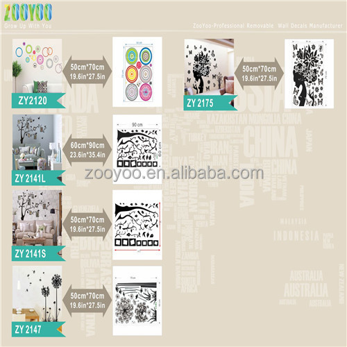 zooyooCCD001PVC Removable animals world sticker home decor decorative wall art animal sticker 2015 home decor