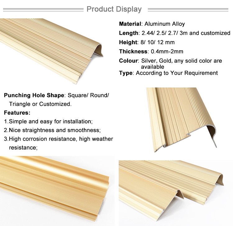 Step Edge Trim Metal Stair Nose Laminate Floor Anti Slip Stair Nosing