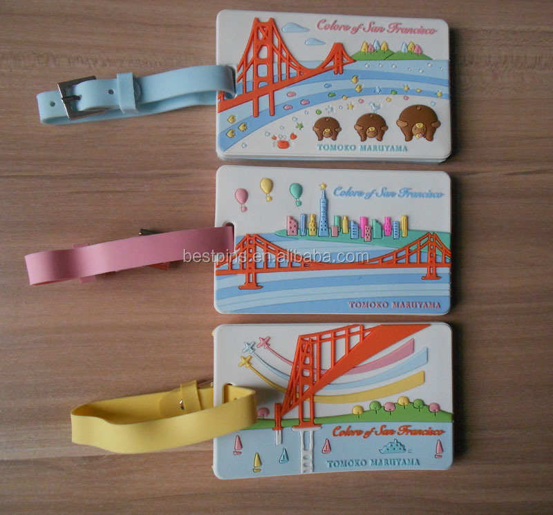 Fashional custom soft PVC or rubber embroidered travel luggage tag