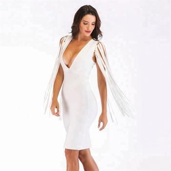 8c4fe5979b Guangzhou Deep V-neck Long Tassel Dress Celebrity Casual Bandage Bodycon  Sexy White Dress Wholesale