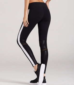 ba510014735a80 Wholesale Fancy Mesh Shine Reflective Leather Side Striped Stretchy Stylish  Women Yoga Pants Bottom Tights Gym