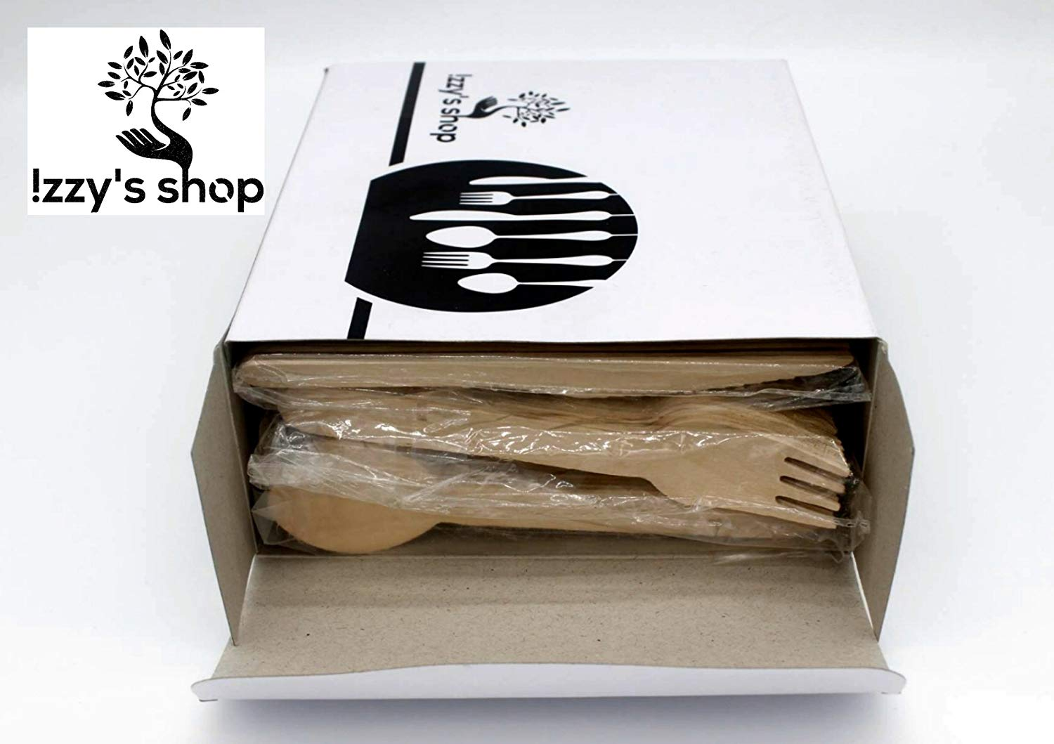 Disposable Wooden Cutlery Set - Izzy's Shop 100% Natural, Eco-Friendly, Biodegradable & Compostable Birchwood Flatware Set for Parties, Camping, Weddings & Everyday Use – Pack of 300 Utensils