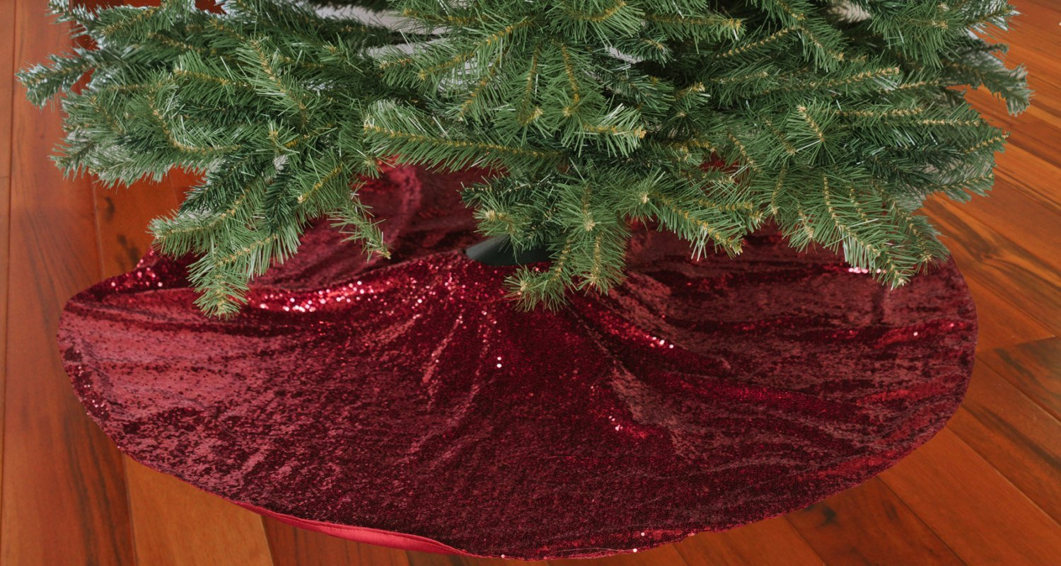 Get Quotations Shinybeauty Christmas Tree Skirt Red 48inch Round Sparkly Sequin