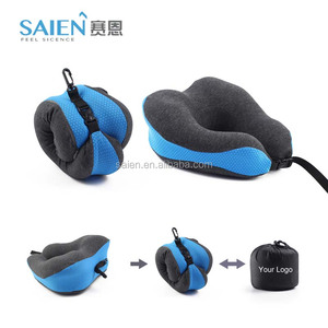 Private logo customized portable folding memory foam travel neck pillow