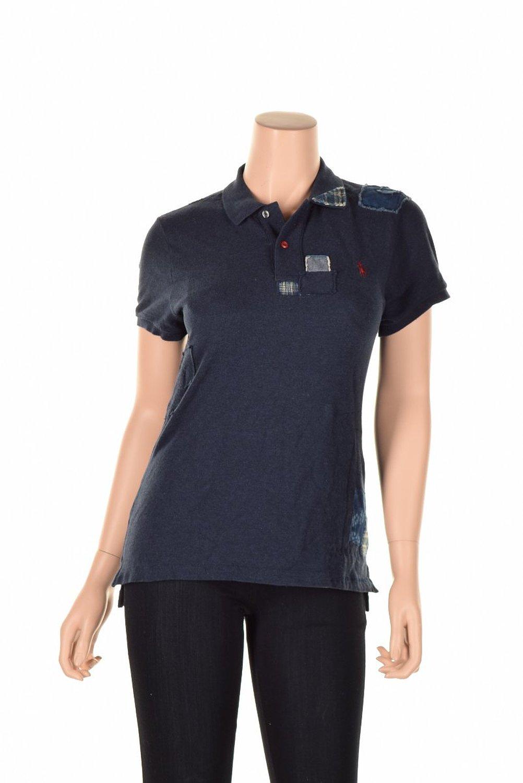cbd776b38 Get Quotations · Ralph Lauren Women Skinny Fit Repaired Polo Shirt Indigo  Large