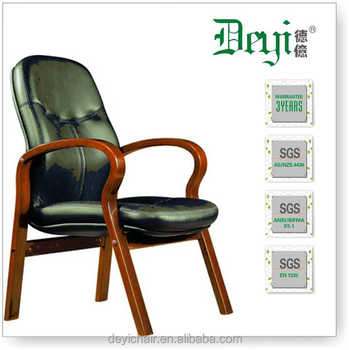 Wood Base High Back Visitor Chair 6319 D Leather Conference Room Chair With  Armrest