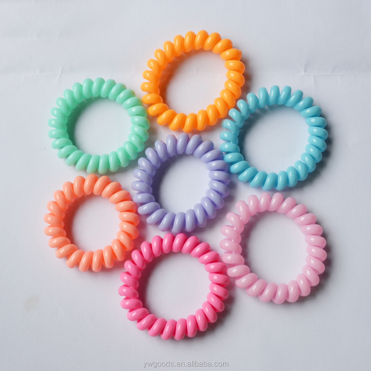 Fashion Elastic Hair Bands Tri Color Telephone Line Shaped Ties Plastic Spiral