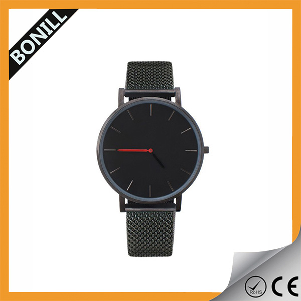 Custom logo watches blank face classic brand your own slim watch with thin steel mesh band