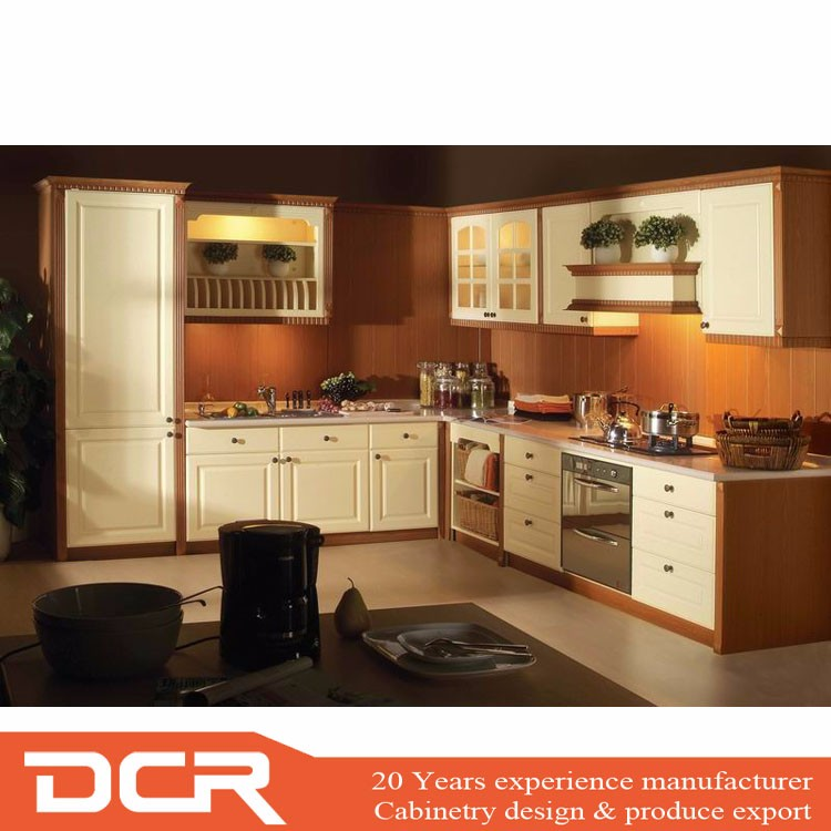 High Gloss White Color Vinyl Wrapped Pvc Kitchen Cabinet ...