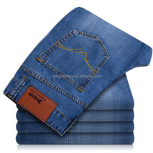 Nieuwe businesss <span class=keywords><strong>jeans</strong></span> slim fit rechte been denim broek mannen