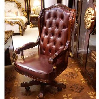 Luxe Leren Bureaustoel.Yb63 Luxe Antieke Chesterfield Lederen Bureaustoel Massief Hout