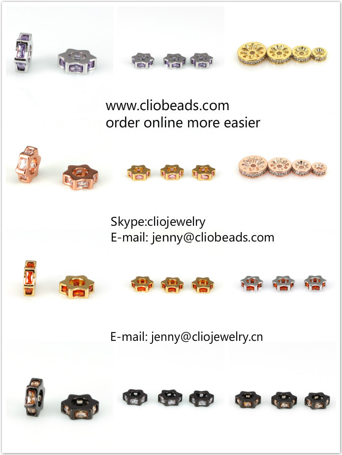 CB33064-1 Cubic Zirconia Micro Pave Brass Beads, Rounds, Rosegold Color Plated