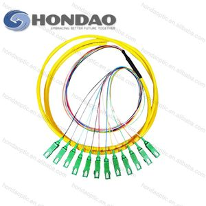Hondao FTTH Fiber Optic Telecommunication Equipment SC/APC Fiber Optic Pigtail 12 Colors bundle fiber optic Pigtail cable